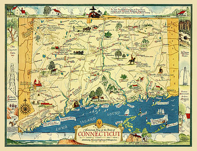 Photograph - Connectiucut 1930s Map With Historical Information by Phil Cardamone