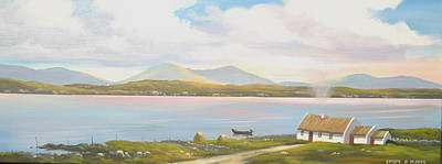 Currach Painting - Connemara Cottage 2011 by Cathal O malley