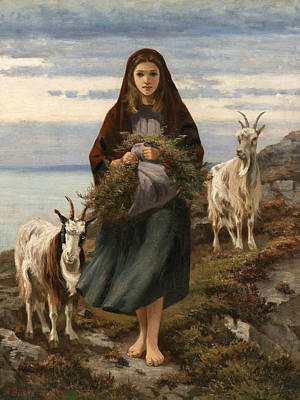 Irish Painting - Connemara Girl by Augustus Nicholas Burke
