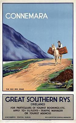 Mixed Media - Connemara, Ireland - Great Southern Rys - Horse Riding - Retro Travel Poster - Vintage Poster by Studio Grafiikka