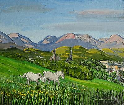 Painting - Connemara Ponies Clifden Ireland by Diana Shephard