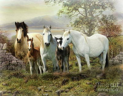 Digital Art -  Connemara Ponies by Trudi Simmonds
