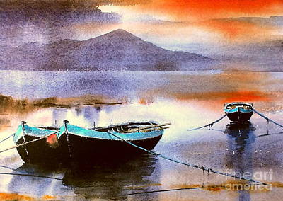 Painting - Connemara Sunset, Roundstone, Galway by Val Byrne