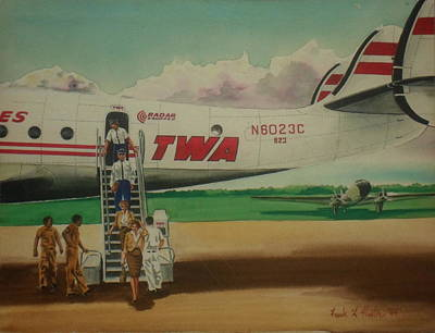 Dc-3 Painting - Connie Crew Deplaning At Columbus by Frank Hunter