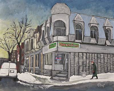 Montreal Buildings Painting - Connie's Pizza Psc by Reb Frost