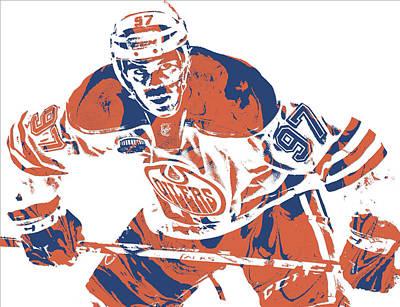 Mixed Media - Connor Mcdavid Edmonton Oilers Pixel Art 1 by Joe Hamilton