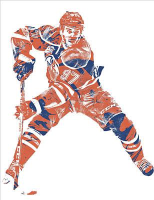 Mixed Media - Connor Mcdavid Edmonton Oilers Pixel Art 4 by Joe Hamilton