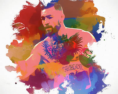 Athletes Royalty-Free and Rights-Managed Images - Conor Mcgregor Watercolor by Dan Sproul