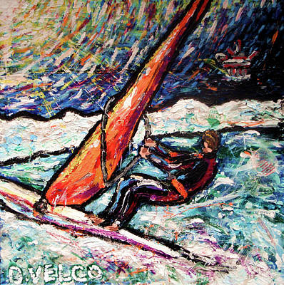 Wind Surfing Art Painting - Conscience Surfer by Dennis Velco