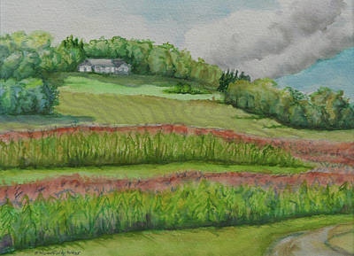 Pastel - Conservation Corn Planting, Young Farm by Bonnie Woodford-Potter