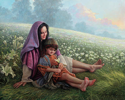Boy Wall Art - Painting - Consider The Lilies by Greg Olsen