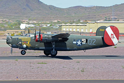 Print featuring the photograph Consolidated B-24j Liberator N224j Witchcraft Deer Valley Arizona April 13 2016 by Brian Lockett