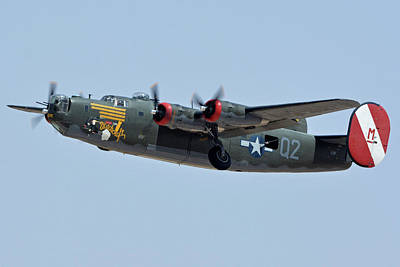 Print featuring the photograph Consolidated B-24j Liberator N224j Witchcraft Phoenix-mesa Gateway Airport Arizona April 15 2016 by Brian Lockett