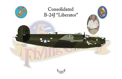 Digital Art - Consolidated, B-24j, Liberator, Rough Night by Arthur Eggers
