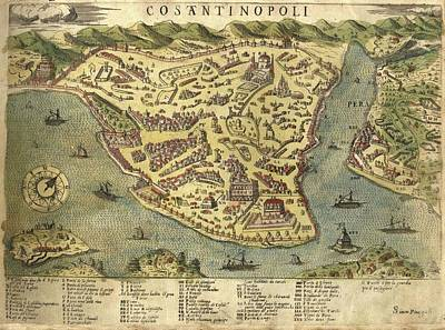 Royalty-Free and Rights-Managed Images - Constantinople - Old Cartographic maps - Antique Map of Constantinople - Istanbul, Turkey by Studio Grafiikka