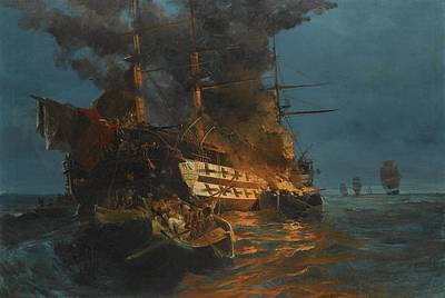 Turkish Painting - Constantinos Volanakis 1837-1907 Greek The Burning Of A Turkish Frigate by Celestial Images