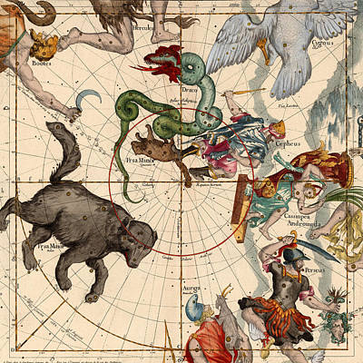 Photograph - Constellation Chart 1693 by Andrew Fare