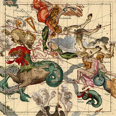 Photograph - Constellation Chart 1693b by Andrew Fare