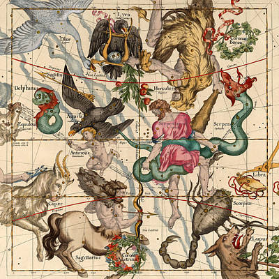 Photograph - Constellation Chart 1693e by Andrew Fare