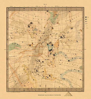 Photograph - Constellation Chart 1830 by Andrew Fare