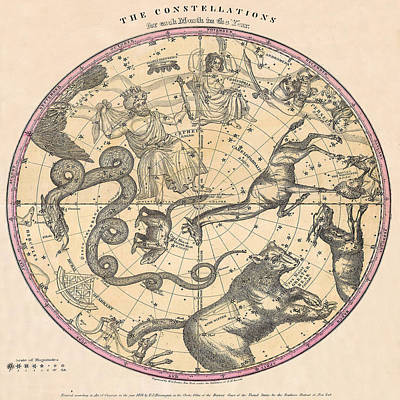 Photograph - Constellation Chart 1856b by Andrew Fare