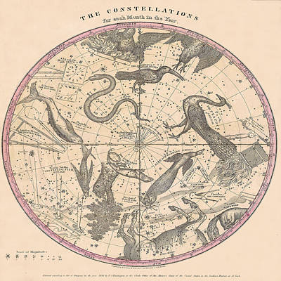 Photograph - Constellation Chart 1856c by Andrew Fare