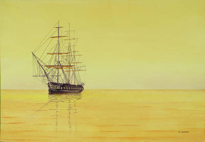 Uss Constitution Painting - Constitution At Sunrise by Carl Hartsfield