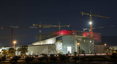 Photograph - Construction At Night by Radoslav Nedelchev