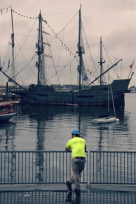 Photograph - Construction Break On Boston Harbor by Joann Vitali