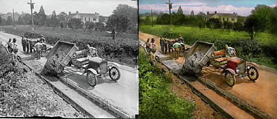 Photograph - Construction - Dumping Made Easy 1925 - Side By Side by Mike Savad
