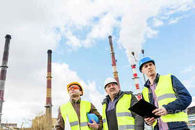 Photograph - Construction Engineers Examining Thermoelectric Power Station. by Michal Bednarek