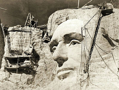Construction Of The Mount Rushmore National Memorial, Detail Of Abraham Lincoln,1928  Art Print by American School