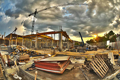 Iron Photograph - Construction Site by Jaroslaw Grudzinski
