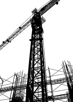 Photograph - Construction Site Silhouette by Yali Shi