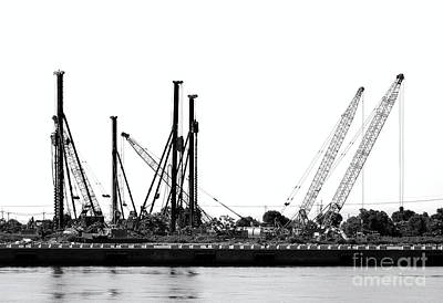 Photograph - Construction Site With Drilling Rigs And Cranes by Yali Shi