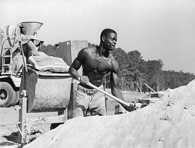Construction Worker And Cement Truck Print by Matt Plyler