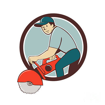 Construction Worker Concrete Saw Cutter Cartoon Art Print by Aloysius Patrimonio