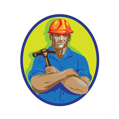 Public Administration Digital Art - Construction Worker Foreman Arms Crossed Wpa by Aloysius Patrimonio