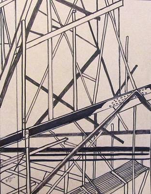 Drawing - Construction Zone by Barbara O'Toole