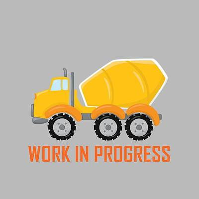 Digital Art - Construction Zone - Concrete Truck Work In Progress Gifts - Grey Background by Life Over Here