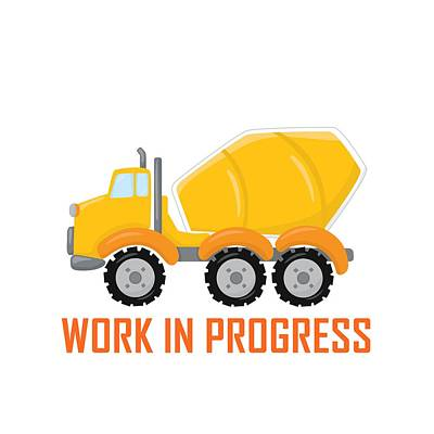 Digital Art - Construction Zone - Concrete Truck Work In Progress Gifts - White Background by Life Over Here