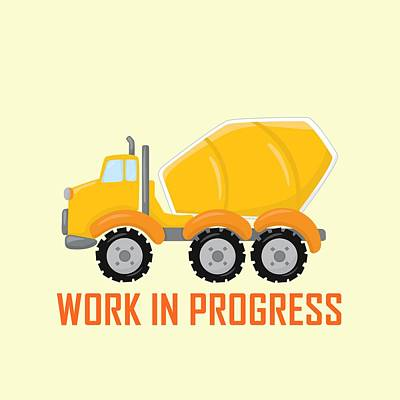 Digital Art - Construction Zone - Concrete Truck Work In Progress Gifts - Yellow Background by Life Over Here