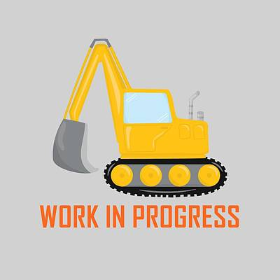 Digital Art - Construction Zone - Excavator Work In Progress Gifts - Grey Background by Life Over Here