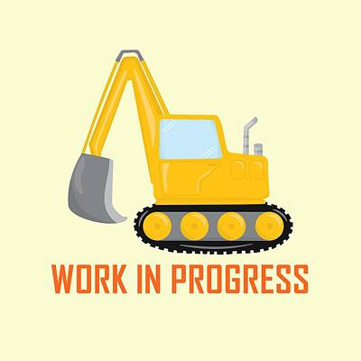 Digital Art - Construction Zone - Excavator Work In Progress Gifts - Yellow Background by Life Over Here