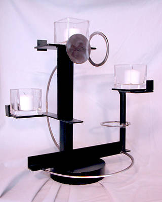 Sculpture - Constructivist Candle Holder by John Gibbs