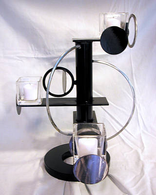 Sculpture - Constructivist Candle Holder Model Two View Three by John Gibbs
