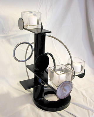 Sculpture - Constructivist Candle Holder Model Two View Two by John Gibbs