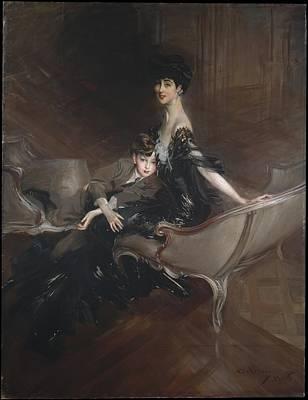 Consuelo Vanderbilt 18761964 Duchess Of Marlborough And Her Son Lord Ivor Spencer-churchill 18981956 Original by Giovanni Boldini