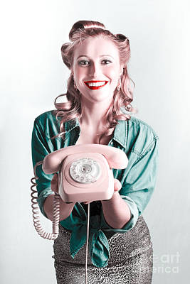 Contact Us By Telephone Said A Vintage Pinup Woman Art Print by Jorgo Photography - Wall Art Gallery