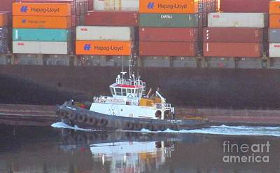Container Ship And Tug Art Print by John Malone